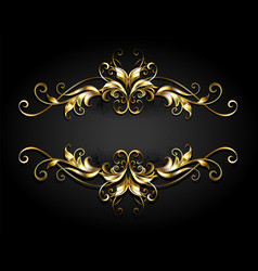 Symmetrical gold frame scroll vector