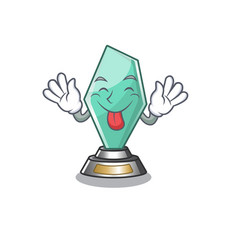 Tongue out acrylic trophy stored in cartoon drawer vector