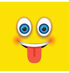 tongue out square emoji vector image