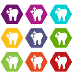 tooth icons set 9 vector image