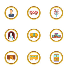 Train icons set cartoon style vector