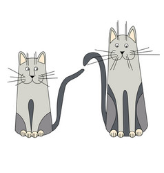 two gray cat looking in different directions on a vector image