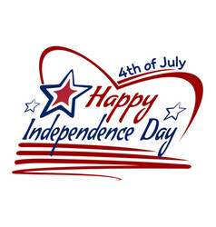 Us independence day lettering card design vector