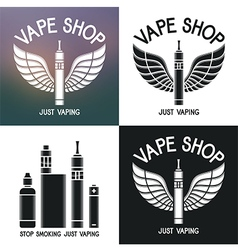 Vape shop logo Icons e-cigarette and accessories vector image