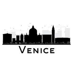 Venice City skyline black and white silhouette vector image