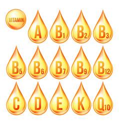 Vitamin icons set organic gold vector