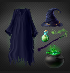 Witch costume set of magic accessories vector