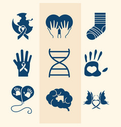 World down syndrome day collection icons vector