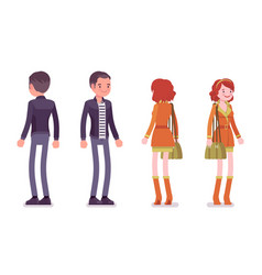 young man and woman standing front rear view vector image
