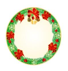 Button circular Christmas Spruce lucky symbols vector image vector image