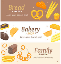 cartoon color bakery banner card horizontal set vector image vector image