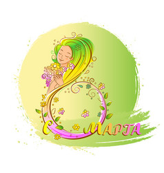 colored 8 march concept with beatiful woman vector image vector image