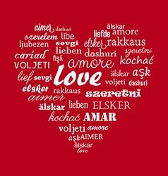 Love heart calligraphy word vector image