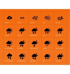 Weather icons on orange background vector image vector image