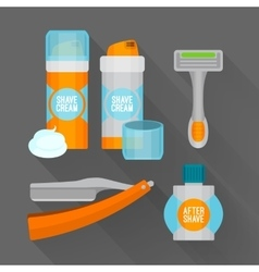 After shave flat icon set Shaving razor shaving vector image