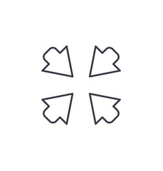 arrows in the center thin line icon linear vector image