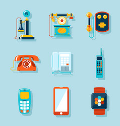 Flat phone icons vector image vector image