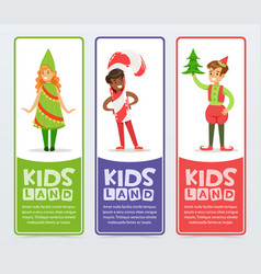 Kids land banners set cute boys and girls in vector