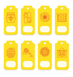 set of tags for beekeeping honey apiary vector image vector image