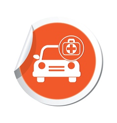 Cars first aid kit orange label vector