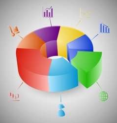 3D pie chart graph infographic vector image