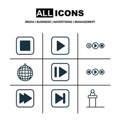 set of 9 multimedia icons includes music control vector image vector image