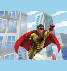 superhero flying through city vector image
