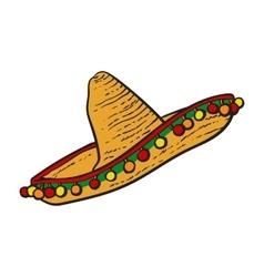 Traditional Mexican wide brimmed sombrero hat vector image vector image