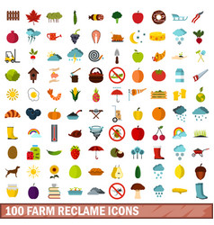100 farm reclame icons set flat style vector image