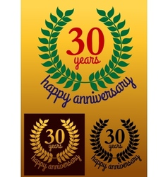 30 Years Happy Anniversary wreath vector image