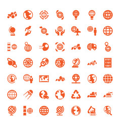 49 earth icons vector image