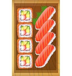 A topview of the different variants of sushi at vector image