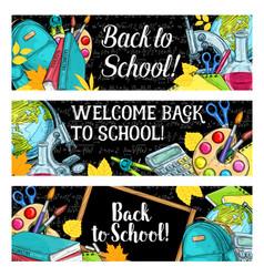 Back to school chalkboard sketch banners vector