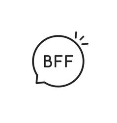 black thin line bff simple logo vector image