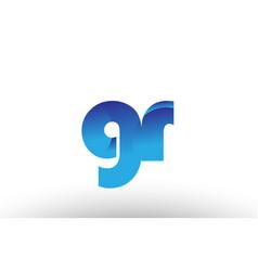 Blue gradient gr g r alphabet letter logo vector