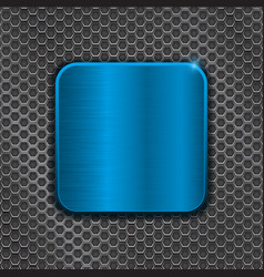 blue metal plate on iron perforated background vector image