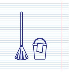 broom and bucket sign navy line icon on vector image