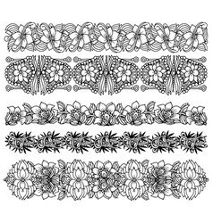 brush border set with flower design vector image