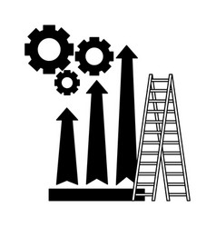 business stairs gears and arrow financial vector image