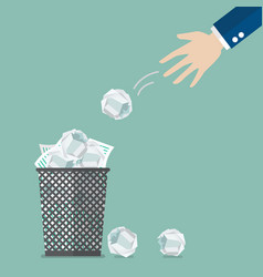 businessman throwing crumpled paper to trash vector image