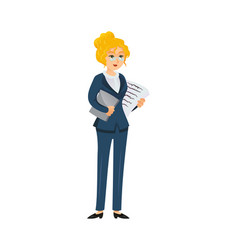 businesswoman character with papers vector image