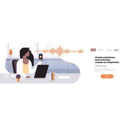 Businesswoman hold phone intelligent voice vector