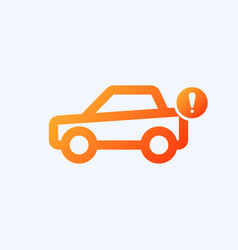 Car icon with exclamation mark vector