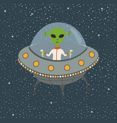 cartoon alien in flying saucer vector image