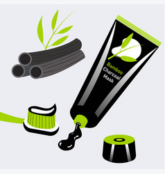 Charcoal and bamboo toothpaste brush vector