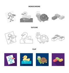 Children toy flatoutlinemonochrome icons in set vector