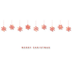 christmas or new year red glitter snowflake vector image