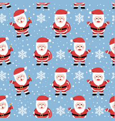christmas seamless pattern with santa on cool vector image