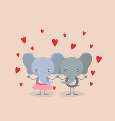 color background with couple of elephants holding vector image