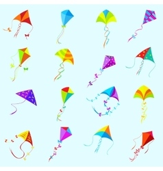 Color kite set vector